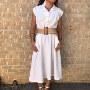Vintage white a line shirt dress small medium